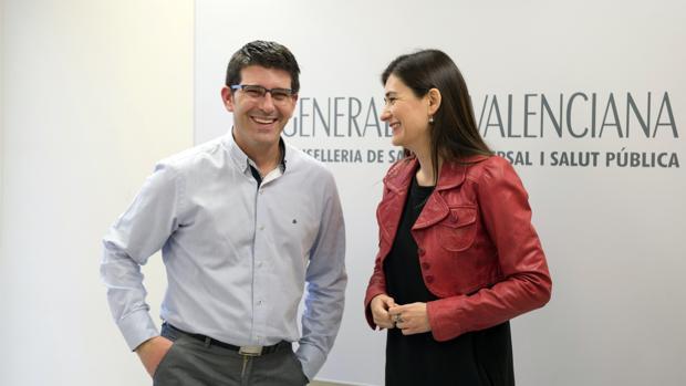 El presidente de la Diputación de Valencia, Jorge Rodríguez y Carmen Montón, en el encuentro