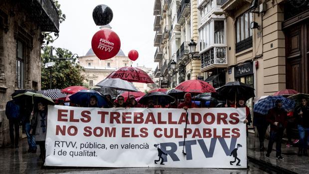 Imagen de la manifestación celebrada por el comité de empresa de RTVV el pasado miércoles