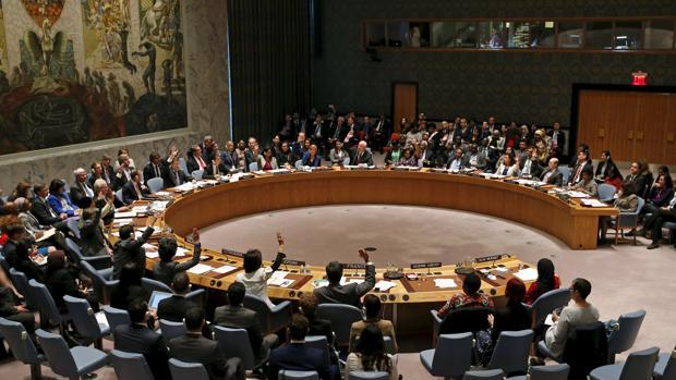 Una votación en una sesión del Consejo de Seguridad de la ONU