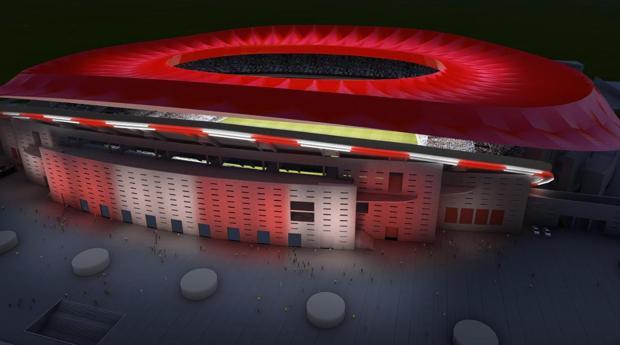 Recreación de la iluminación exterior del estadio