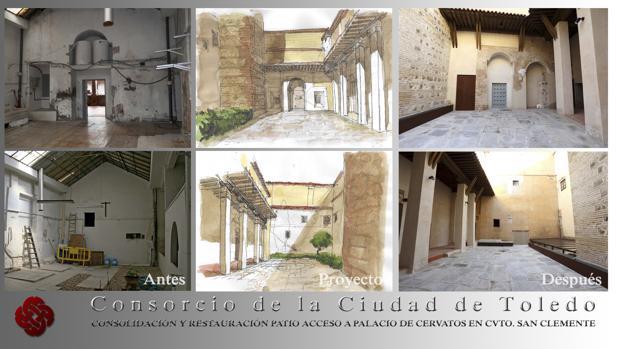Dibujo de la portada del palacio de Cervatos que se va a recuperar