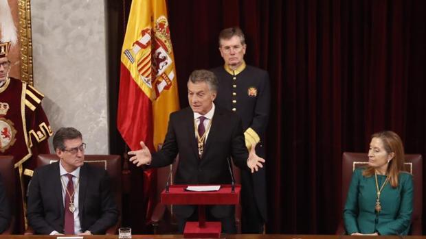 El presindente de Aregntina, Mauricio Macri, durante su intervención este miércoles en el Congreso