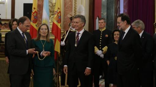 Los presidentes de Congreso y Senado reciben a Macri en la Cámara baja