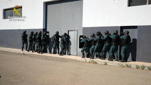 Agentes en el momento de acceder a una de las naves del grupo dedicado a cultivar y traficar con marihuana