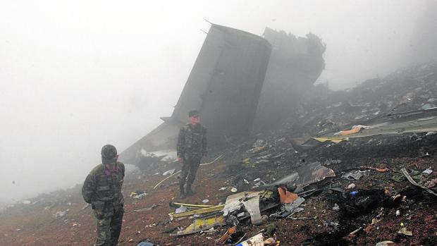 Estado en el que quedaron los restos del Yak