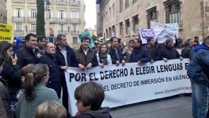Un momento de la manifestación en Valencia, este sábado