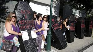 Manifestación en contra de la violencia machista en Santiago