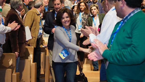 Soraya Sáenz de Santamaría a su llegada al Congreso regional del PP de Castilla y León