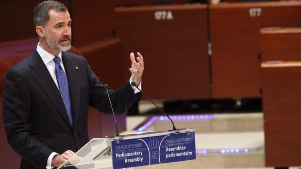 Don Felipe, durante su intrvención este jueves en la Asamblea Parlamentaria del Consejo de Europa en Estrasburgo