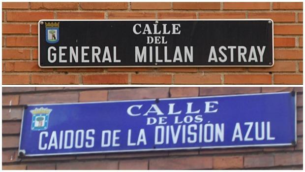 Las placas de las calles de Millán Astray y los Caidos de la División Azul que se retirarán del callejero