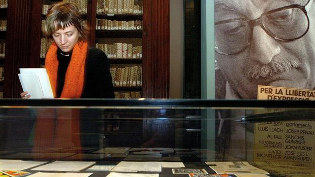 Imagen de archivo de una exposición dedicada a Joan Fuster en la Universitat de València