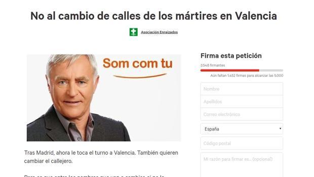 Imagen de una campaña de AEAC en change.org contra el cambio de calles en Valencia