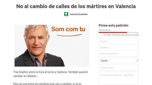 Imagen de la petición contra la modificación del callejero de Valencia en Change.org