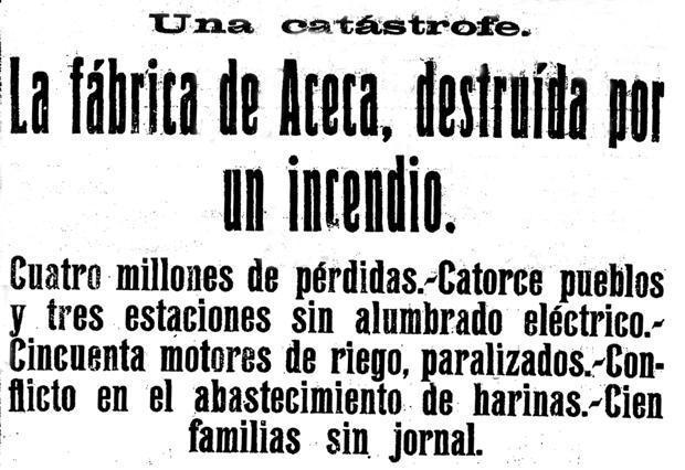 Titulares de «El Castellano» con la noticia que daba cuenta del gran incendio en «La Sagreña»