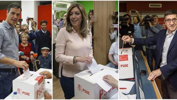 Los tres candidatos a la secretaría general del PSOE, Susana Díaz, Pedro Sánchez (i) y Patxi López,