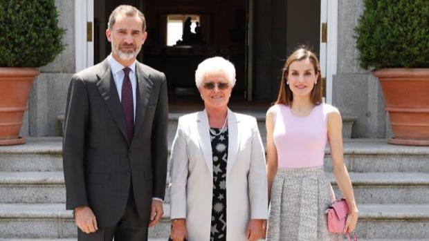 Los Reyes y la Princesa Muna de Jordania este jueves en el Palacio de La Zarzuela