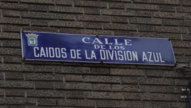 Placa de la calle de los Caidos de la División Azul