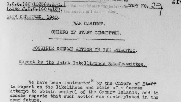 Informe remitido al Comité de Inteligencia del Gabinete de Guerra del Reino Unido en diciembre de 1940