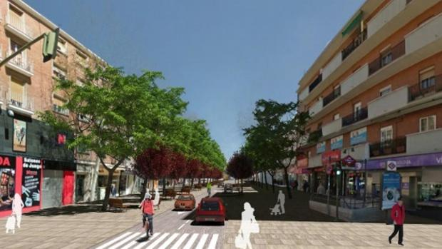 Recreación de la calle de Alcalá, con un carril por sentido