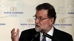 Mariano Rajoy, durante el desayuno de esta mañana en Madrid