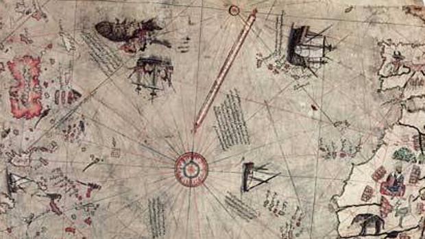 Mapa de Hājjī Mehmet, almirante, marino y cartógrafo turco en 1513