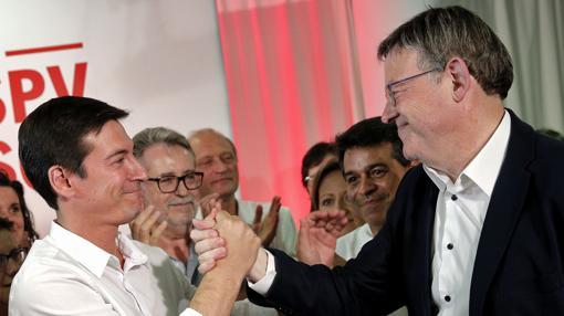 Rafa García y Ximo Puig, tras conocer los resultados de las primarias