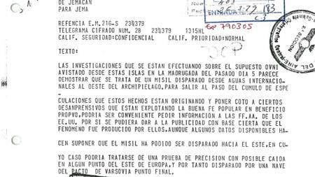 Documento desclasificado que apuntaba en 1976 que era un misil