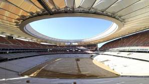 El Wanda Metropolitano, con la cubierta de las gradas, casi concluída