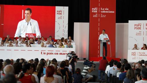 Pedro Sánchez durante su discurso