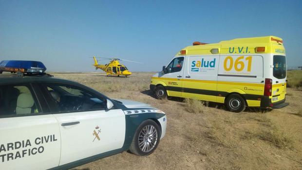 Los equipos de emergencias, en el accidente ocurrido en Escatrón