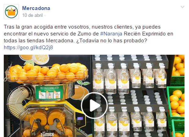 Una de las publicaciones de Mercadona en su página de Facebook