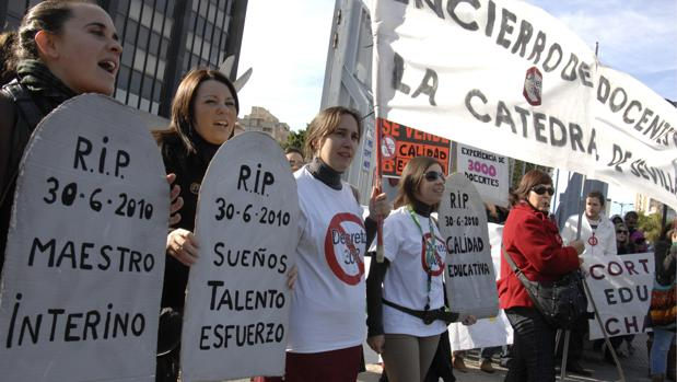 Imagen de archivo de una manifestación de profesores interinos