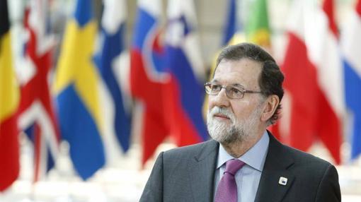 Rajoy a su llegada al Consejo Europeo de Bruselas del pasado mes de abril