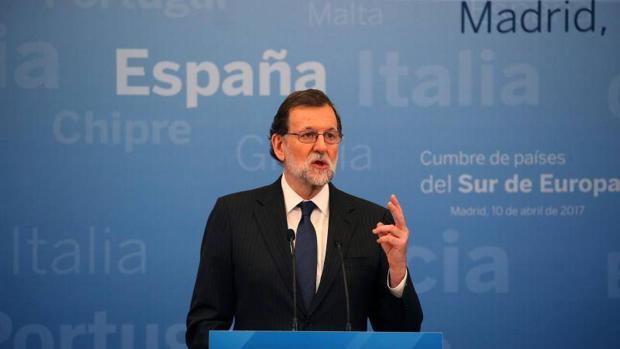 Rajoy durante una rueda de prensa tras la Cumbre de Países del Sur de Europa
