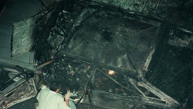 Imagen del atentado en el que fue asesinado Daniel Villar, al que coadyuvó Kepa del Hoyo
