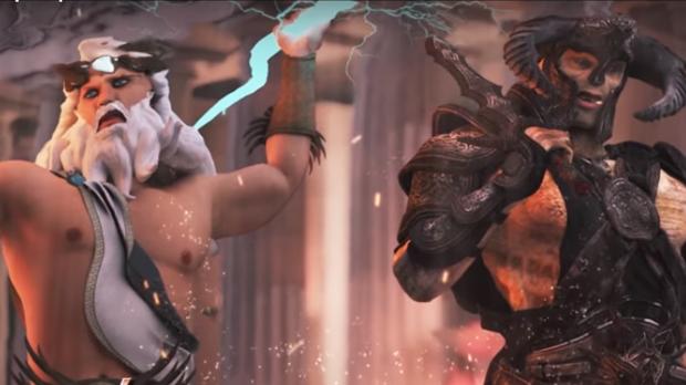 Los dioses griegos Zeus y Ares en plena batalla recreada por realidad virtual en el parque temático