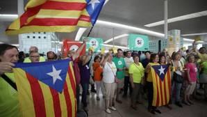 Manifestación de la ANC en el aeropuerto del Prat, hoy