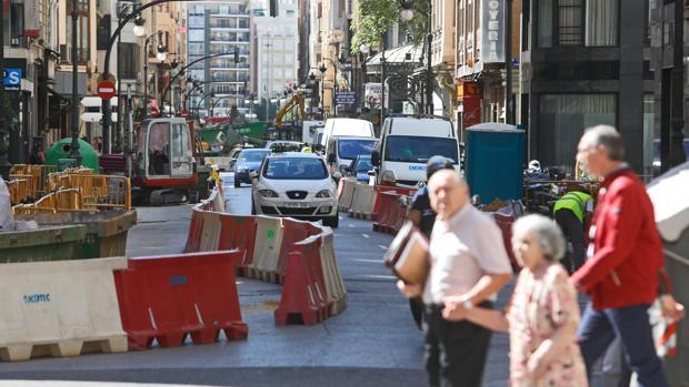 Imagen de archivo de trabajos en la calle San Vicente de Valencia
