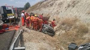 Imagen del accidente de este miércoles en la carretera de Moixent