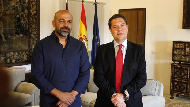 García Molina y el presidente Page en el Palacio de Fuensalida