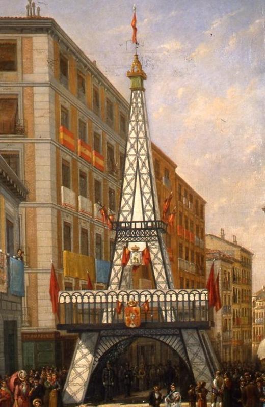 Este cuadro anónimo, que se encuentra en el Museo de la Ciudad, refleja la reproducción de la torre Eiffel en pleno centro madrileño
