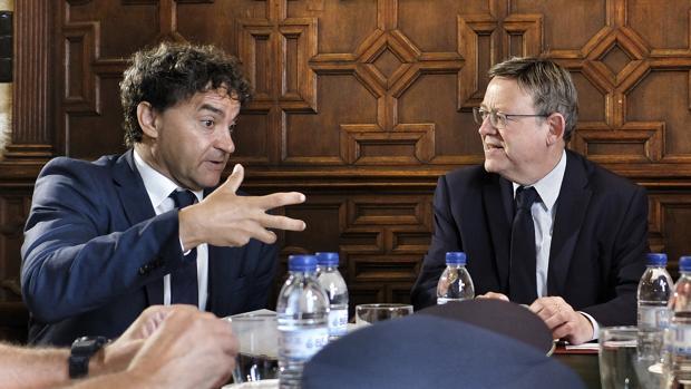 Imagen de Ximo Puig y Francesc Colomer, en la reunión de este jueves