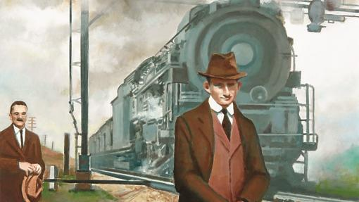 Dos hombres posan junto a un tren en un cuadro