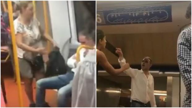 A la izquierda, una mujer al sujeto sus insultos; a la derecha, el agresor se encara con una de sus víctimas
