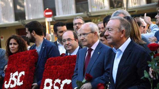 La comitiva socialista encabezada por Iceta y el expresidente de la Generalitat, José Montilla