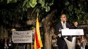 El conseller de Presidéncia de la Generalitat de Cataluña Jordi Turull participa en un acto del partido, previo a la Diada,
