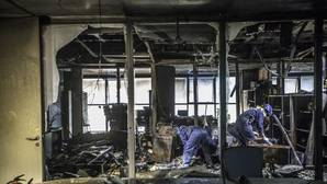 Imagen del estado en el que han quedado las instalaciones de la Ciudad de la Justicia de Valencia