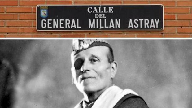 Calle del General Millán AStray, junto a una foto del militar