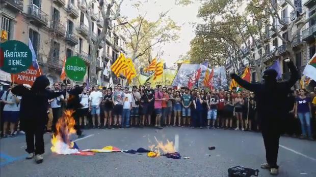 Encapuchados queman banderas de España, Francia y la UE en una marcha convocada por la CUP