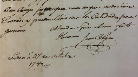 Carta de Juan Cólogan Valois desde Londres a sus hermanos de octubre de 178